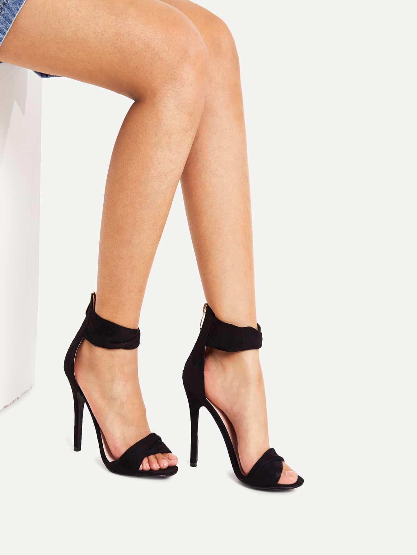 Wrap Design Back Zipper Heeled Sandals