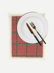 Lace Crochet Contrast Plaid Dining Mat