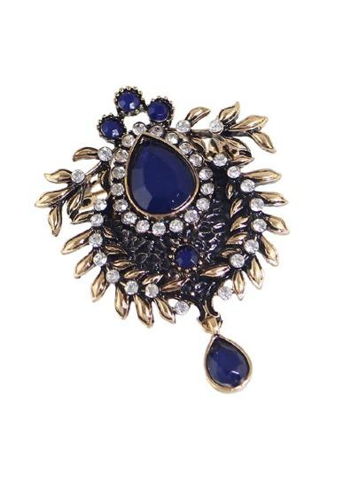 Blue Bronze Rhinestone Flower Brooch
