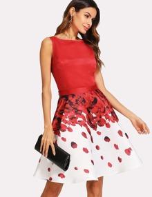 Sleeveless Top And Rose Petal Print Skirt Set