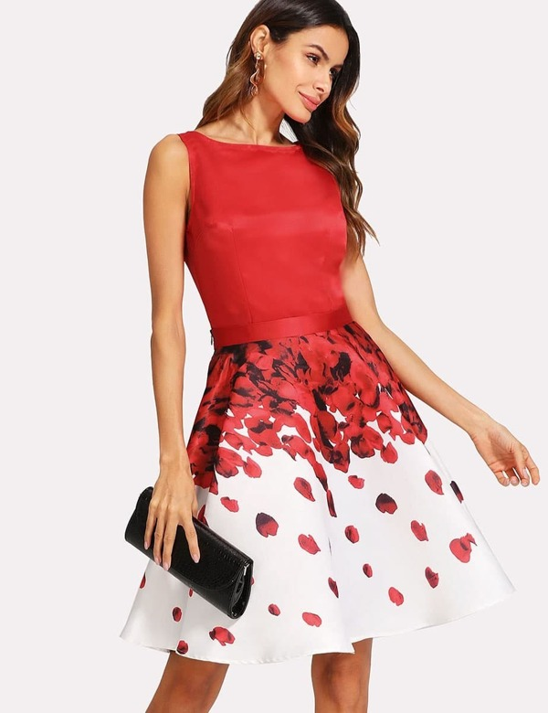 Sleeveless Top And Rose Petal Print Skirt Set by Shein