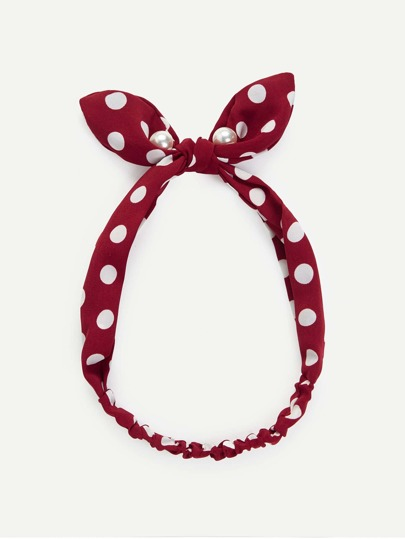 Faux Pearl Bow Knot Polka Dot Headband