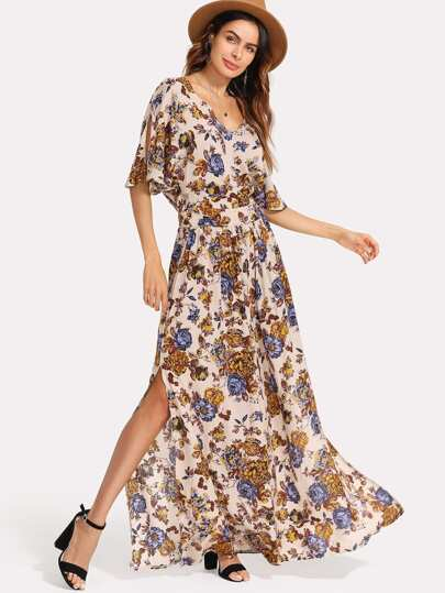 Flower Print Tie Waist Maxi Dress