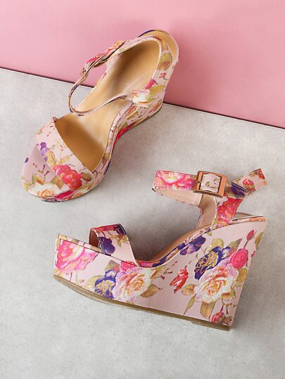 Floral Print Platform Wedge Sandal BLUSH MULTI