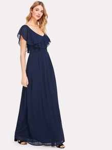 Asymmetric Shoulder Layered Flounce Maxi Dress