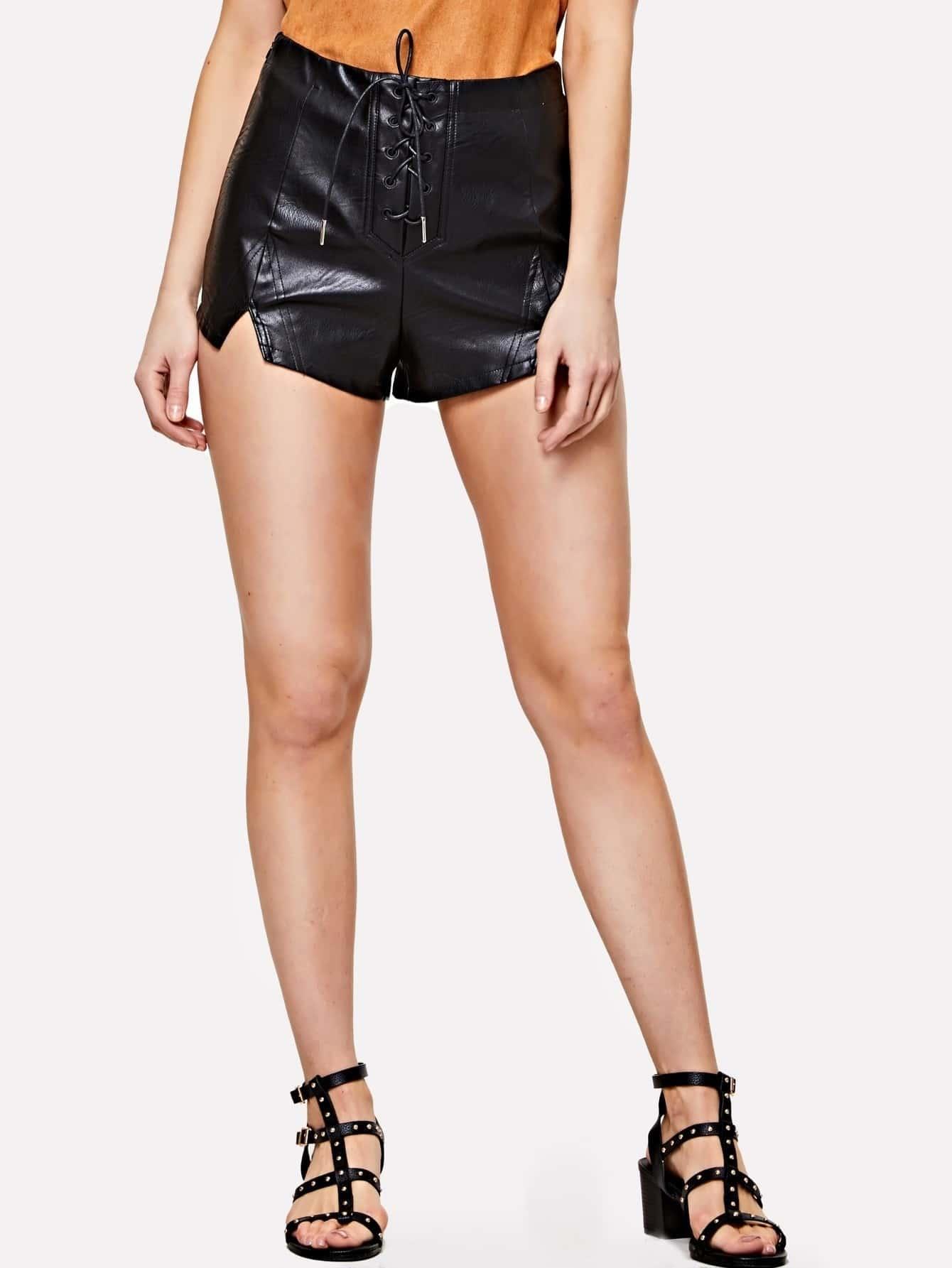 Lace Up Front Slit Hem PU Leather Shorts christine darvin new ego men