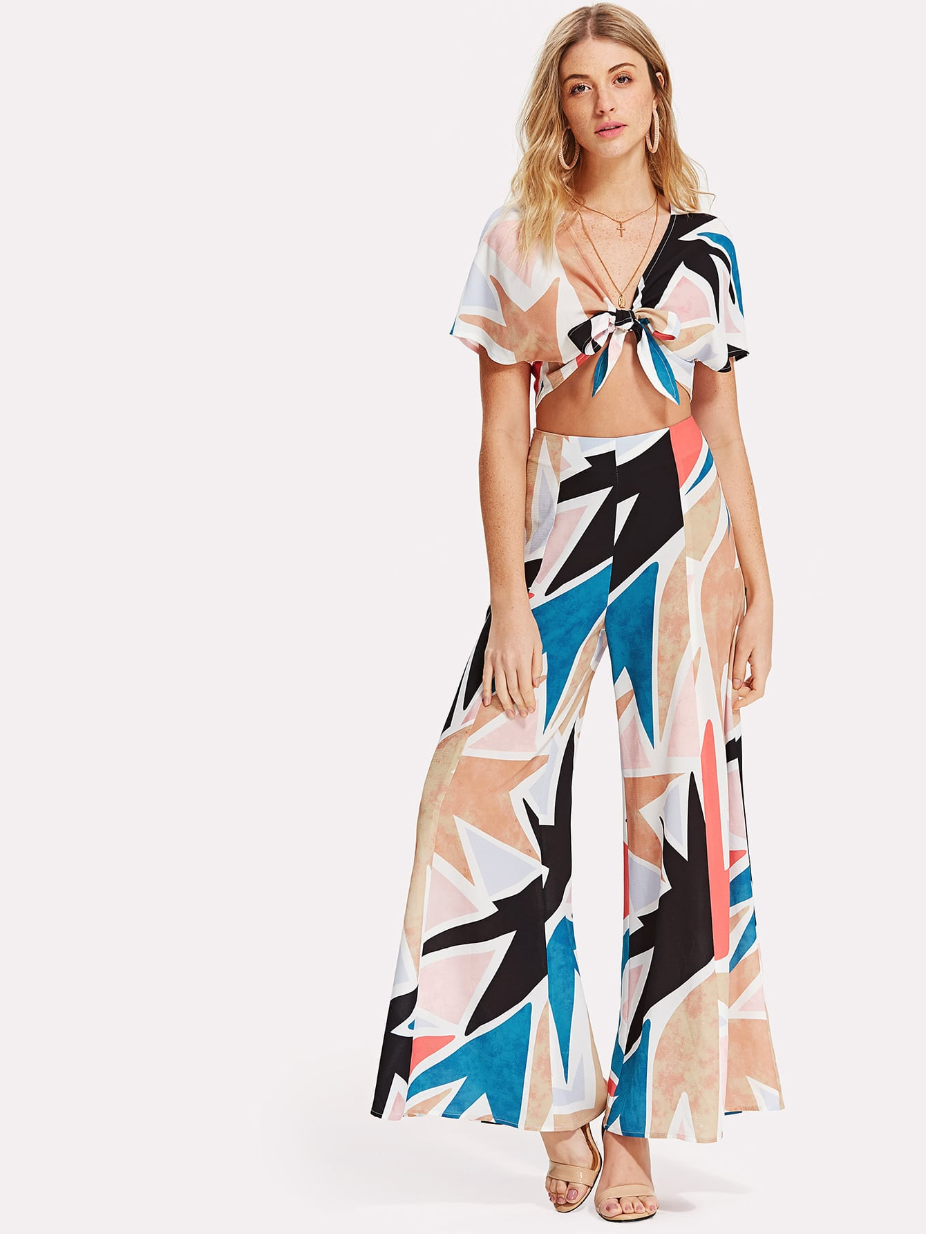 Knot Front Crop Top And Wide Leg Pants Set knot front wide leg printed jumpsuit