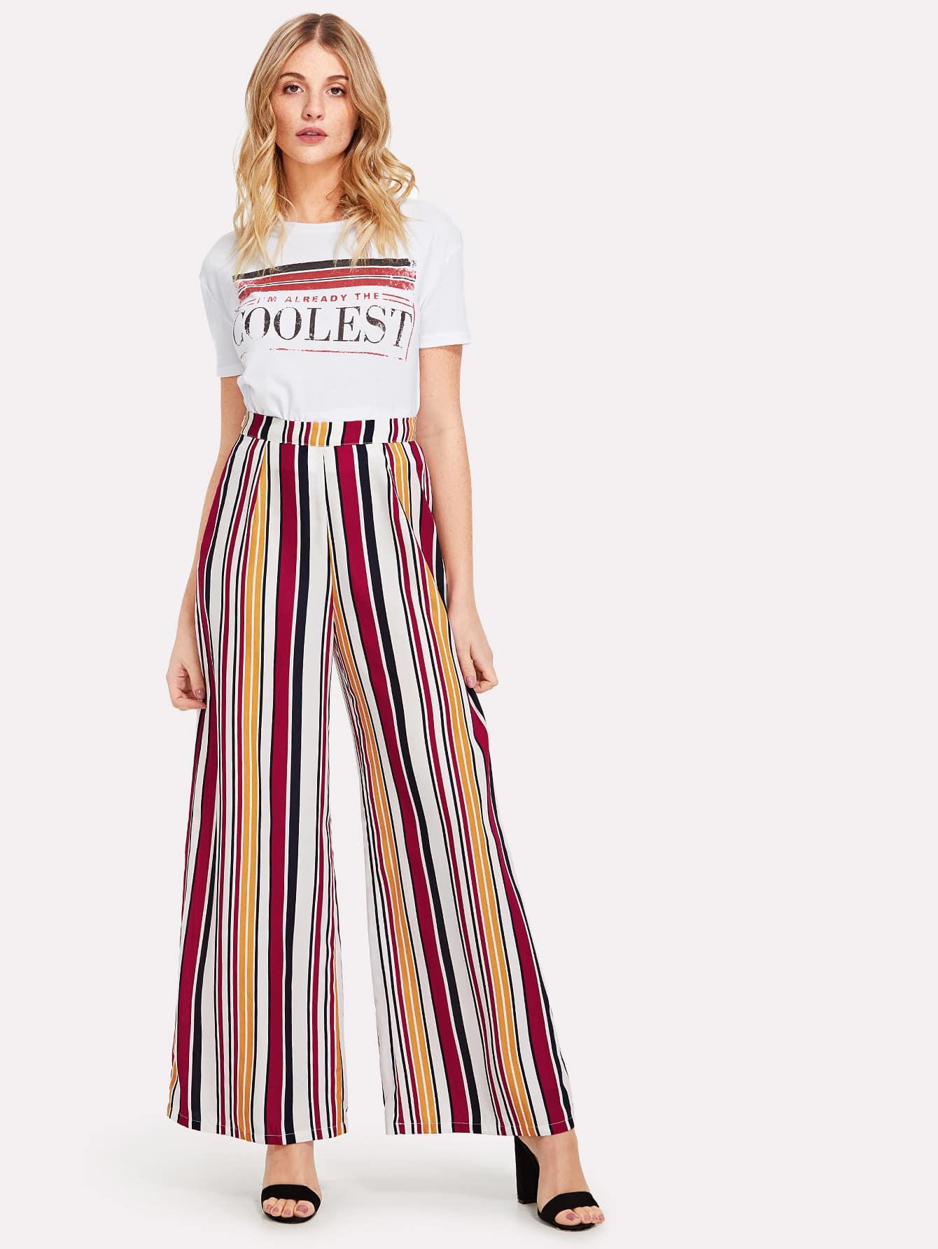 Zip Up Wide Leg Striped Pants zip up florals wide leg jumpsuit