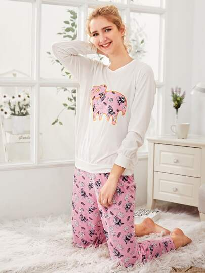 Elephant Embroidered Pullover & Pants PJ Set