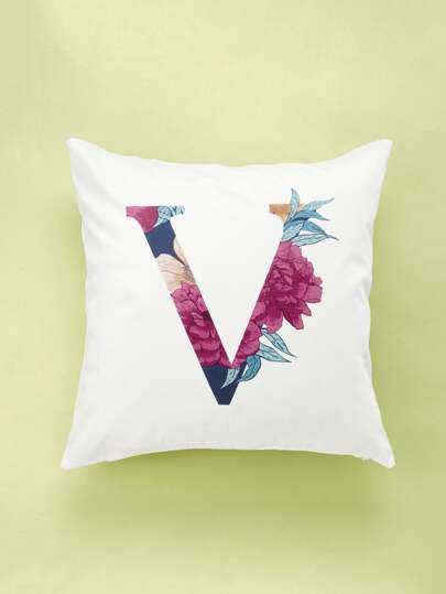 Floral V Printed Cushion Cover