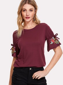 Bow Tied Detail Embroidery Sleeve Tee