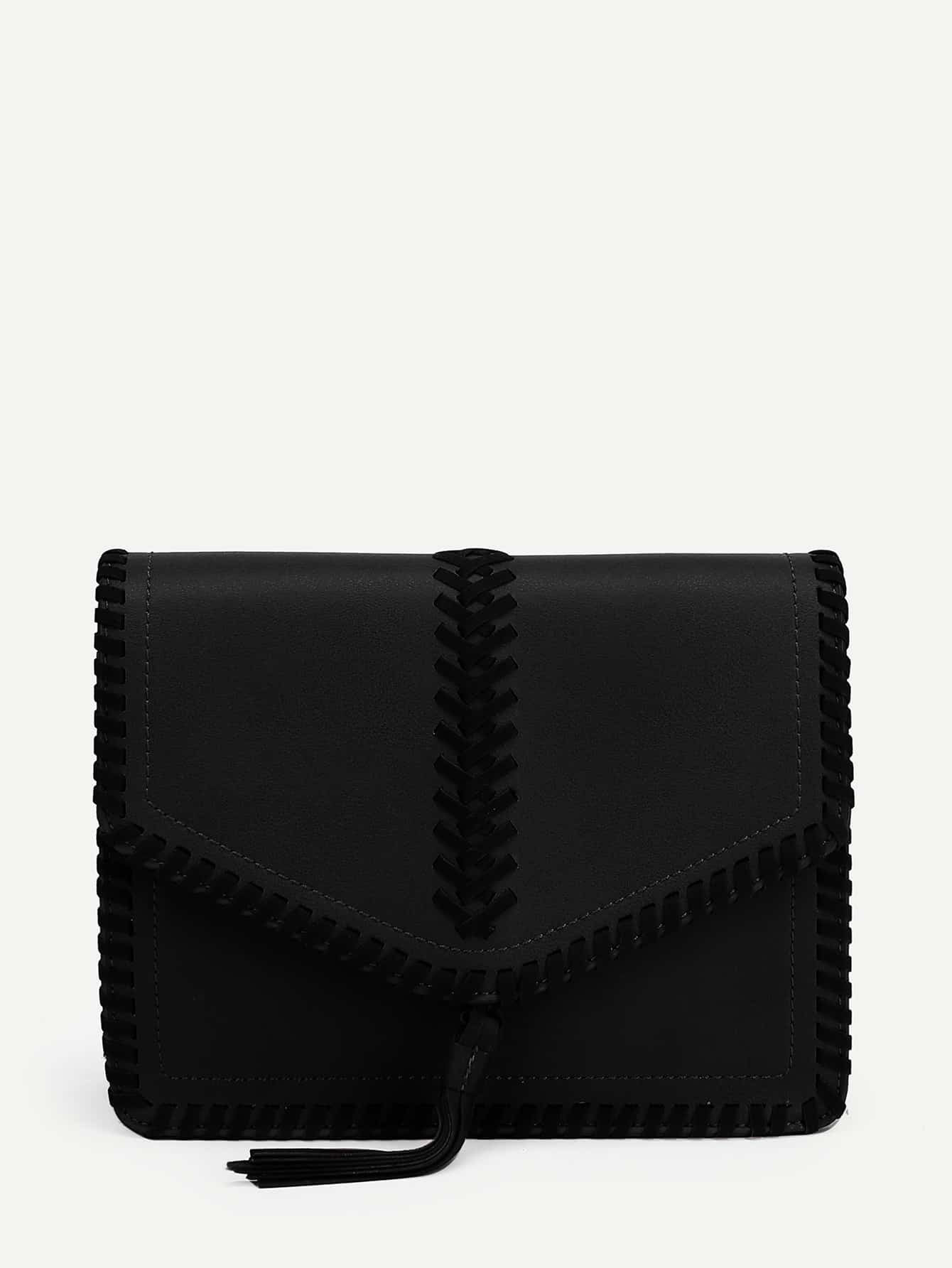 Tassel Detail Flap PU Crossbody Bag tassel detail straw crossbody bag
