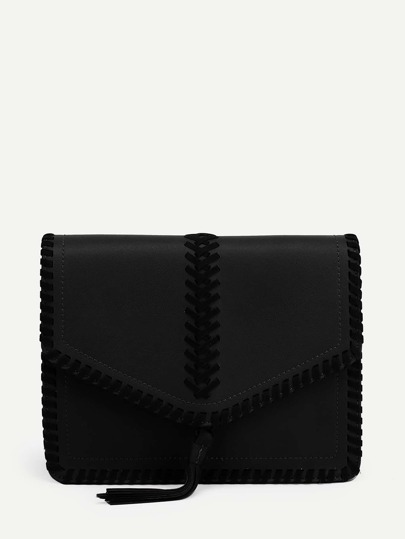 Tassel Detail Flap PU Crossbody Bag