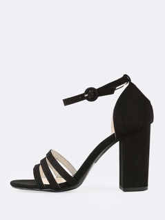 Faux Suede Strappy Thin Ankle Cuff Chunky Heel BLACK