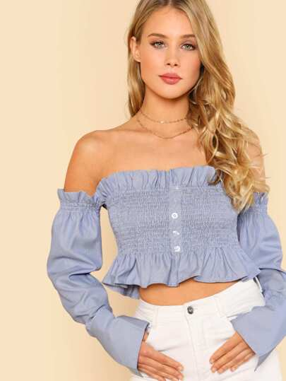Off Shoulder Ruffle Trim Shirred Crop Top with Buttons BLUE