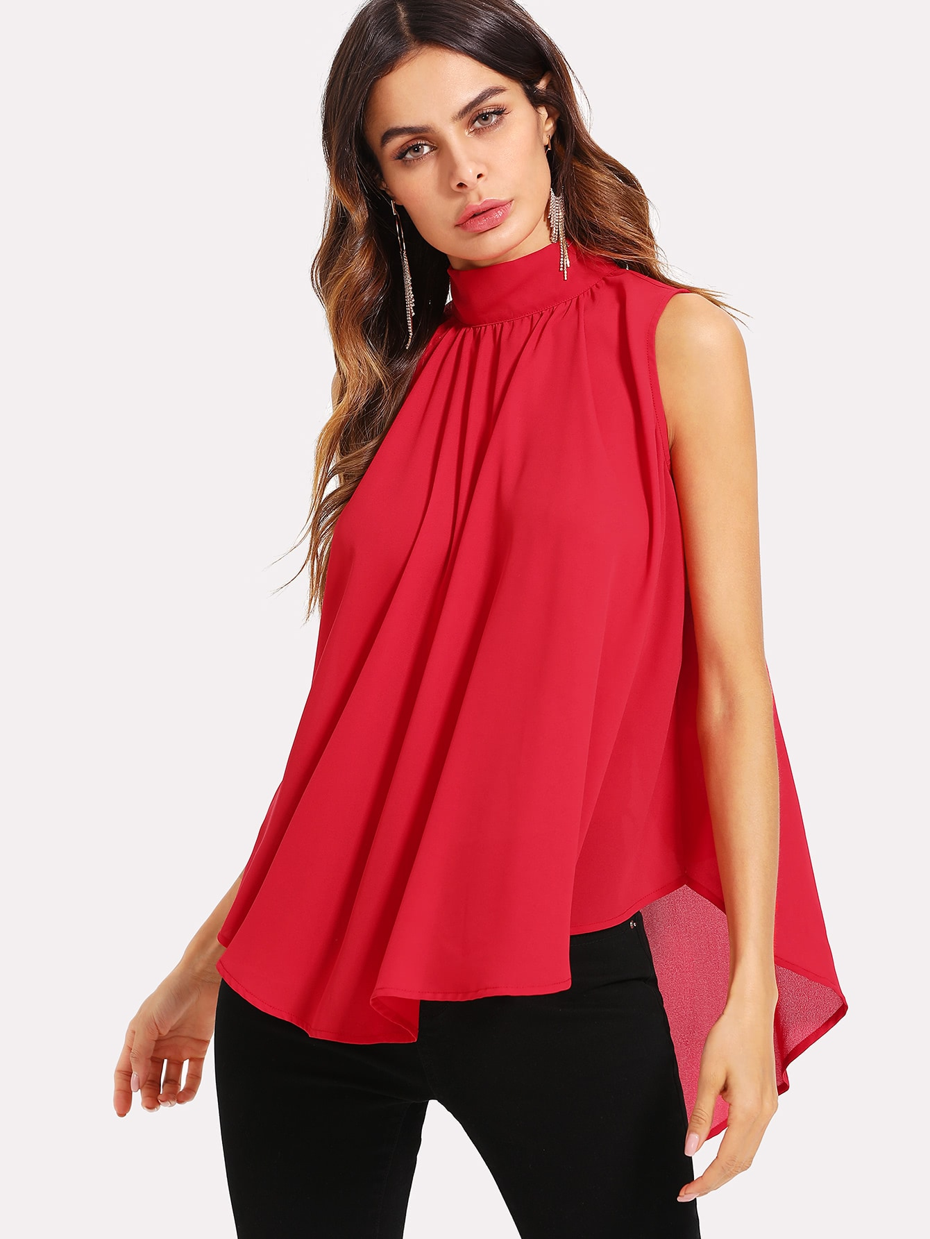 Mock Neck Pleated Front High Low Top split front high neck sleeveless top