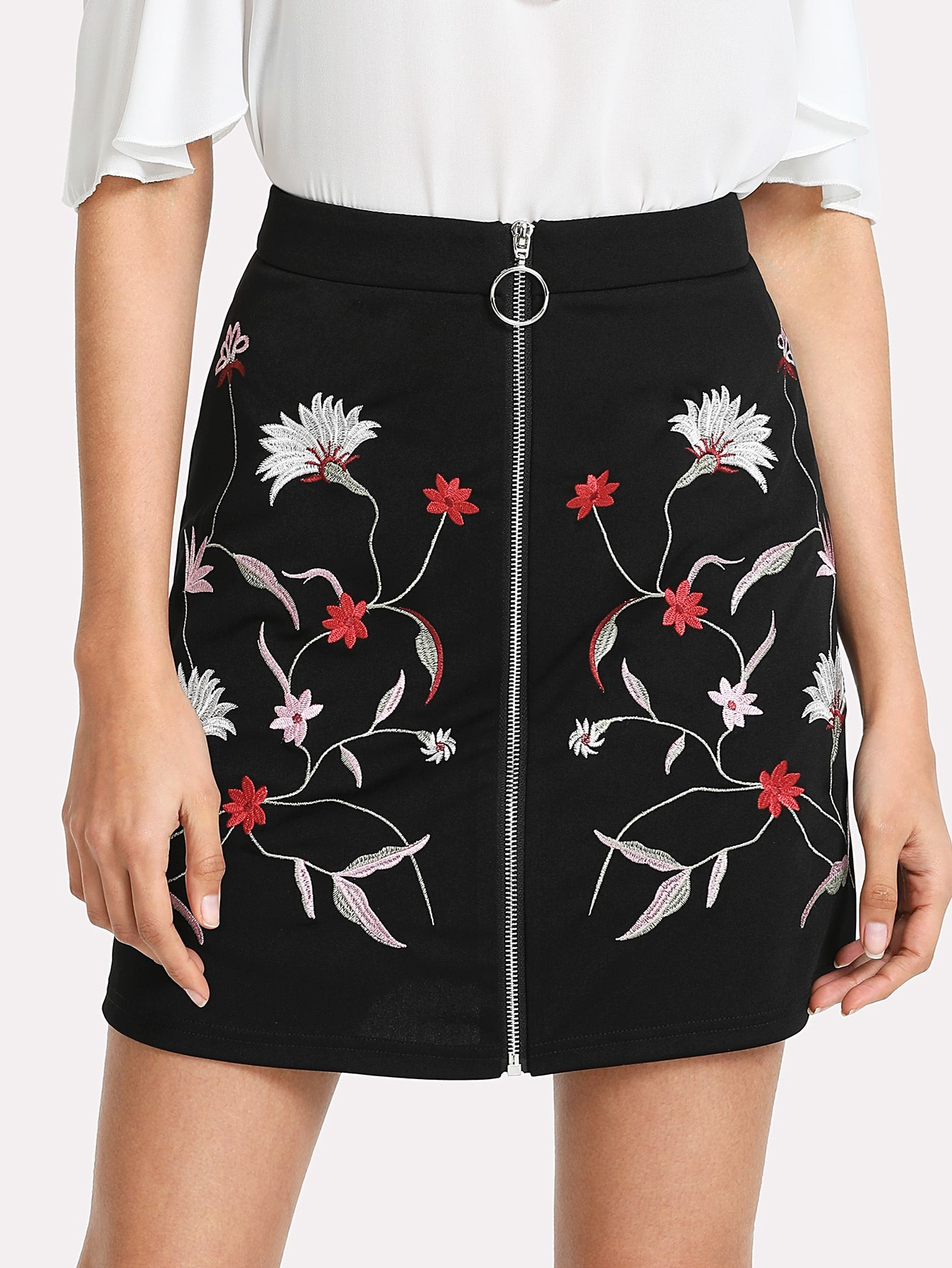 Botanical Embroidery Zipper Up Skirt