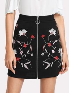 Botanical Embroidery Zipper Up Skirt