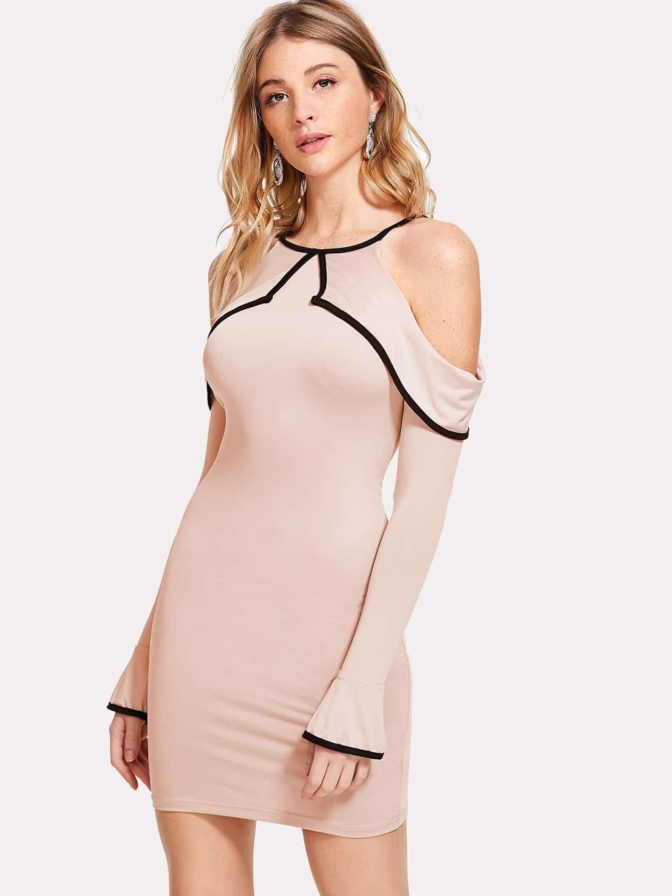 Contrast Binding Ruffle Cold Shoulder Dress цена и фото