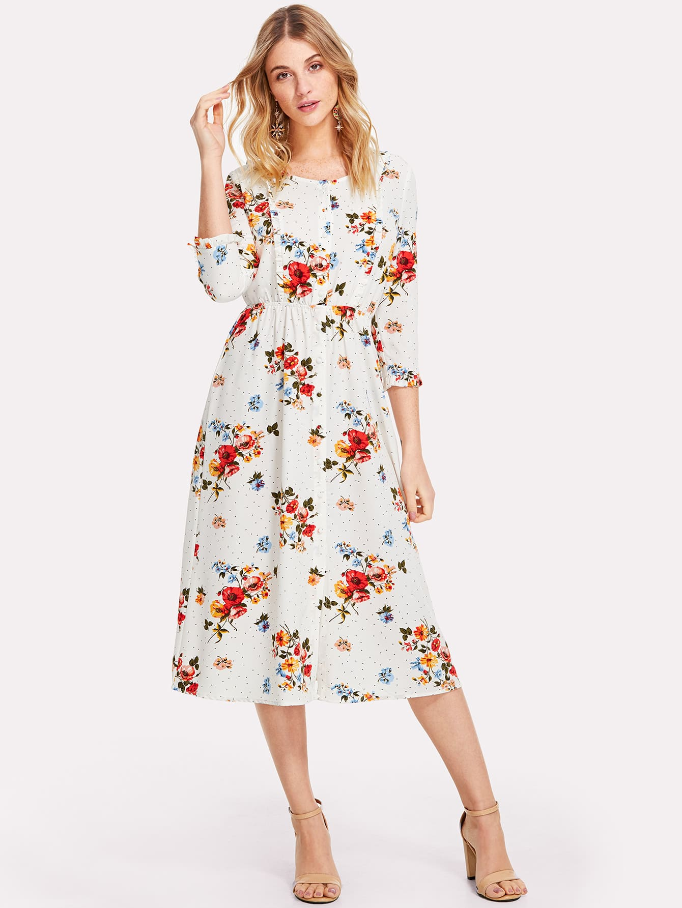 3/4 Sleeve Button Up Floral Dress fashionable 3 4 sleeve floral print dress for women