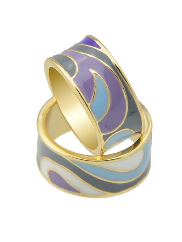 Purple-8 Geometric Pattern Finger  Rings 3pcs set hyperbole geometric circle v shape finger rings
