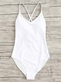 Cross Strap Low Back Swimsuit