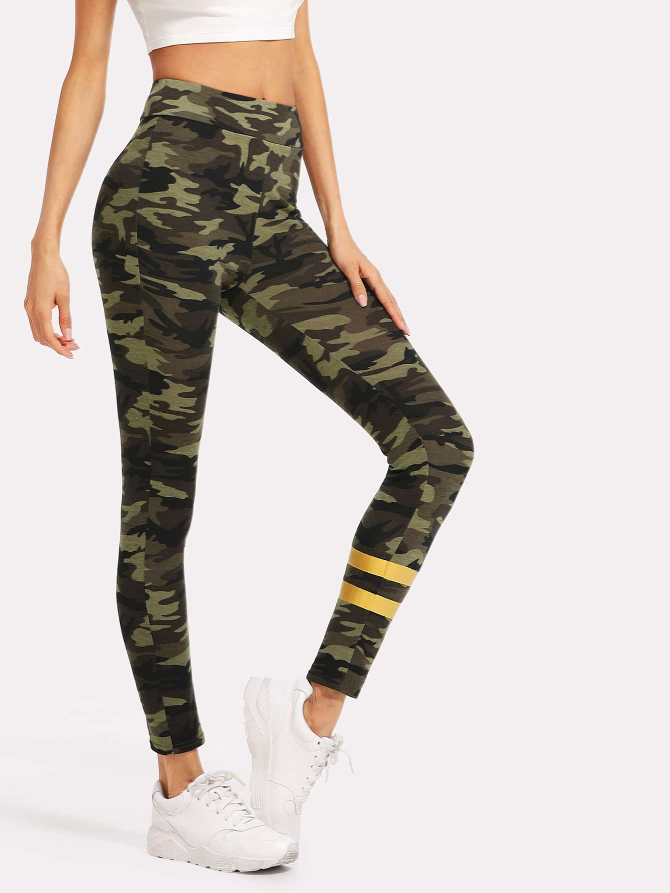 Striped Panel Camo Leggings asymmetric striped leggings