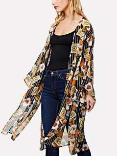 Open Front Mixed Print Kimono
