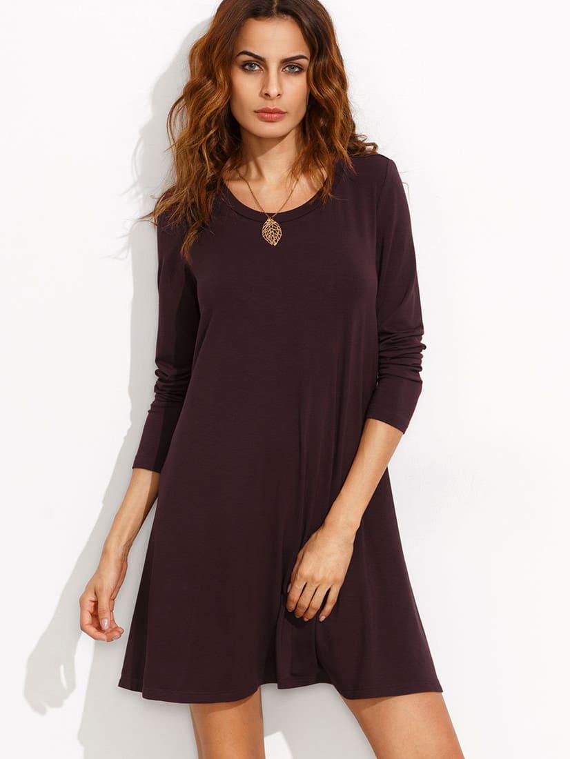 Burgundy Long Sleeve T-shirt Dress