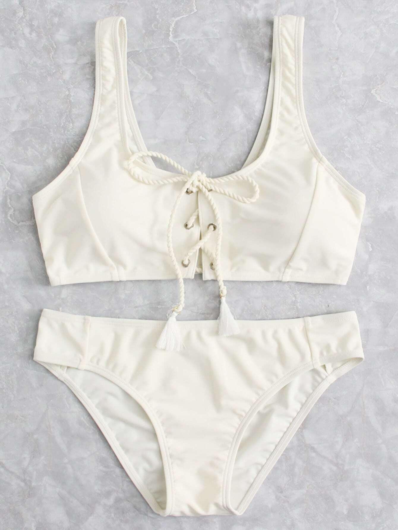 Lace Up Front Bikini Set camo lace up studded bikini set