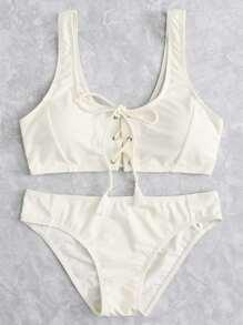 Lace Up Front Bikini Set