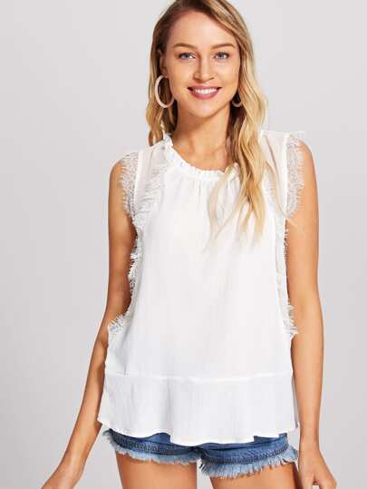 Eyelash Lace Trim Tiered Hem Top