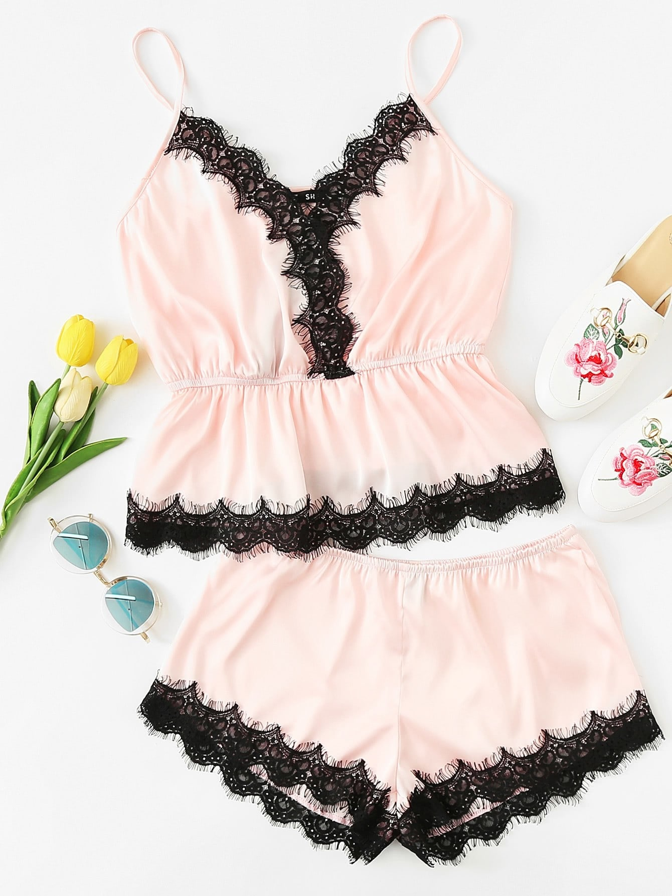Lace Trim Ruffle Cami Top And Shorts PJ Set pajama lace trim cami top and shorts