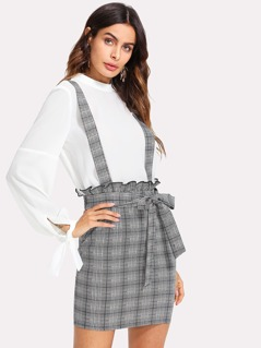 Self Belt Plaid Pinafore Skirt
