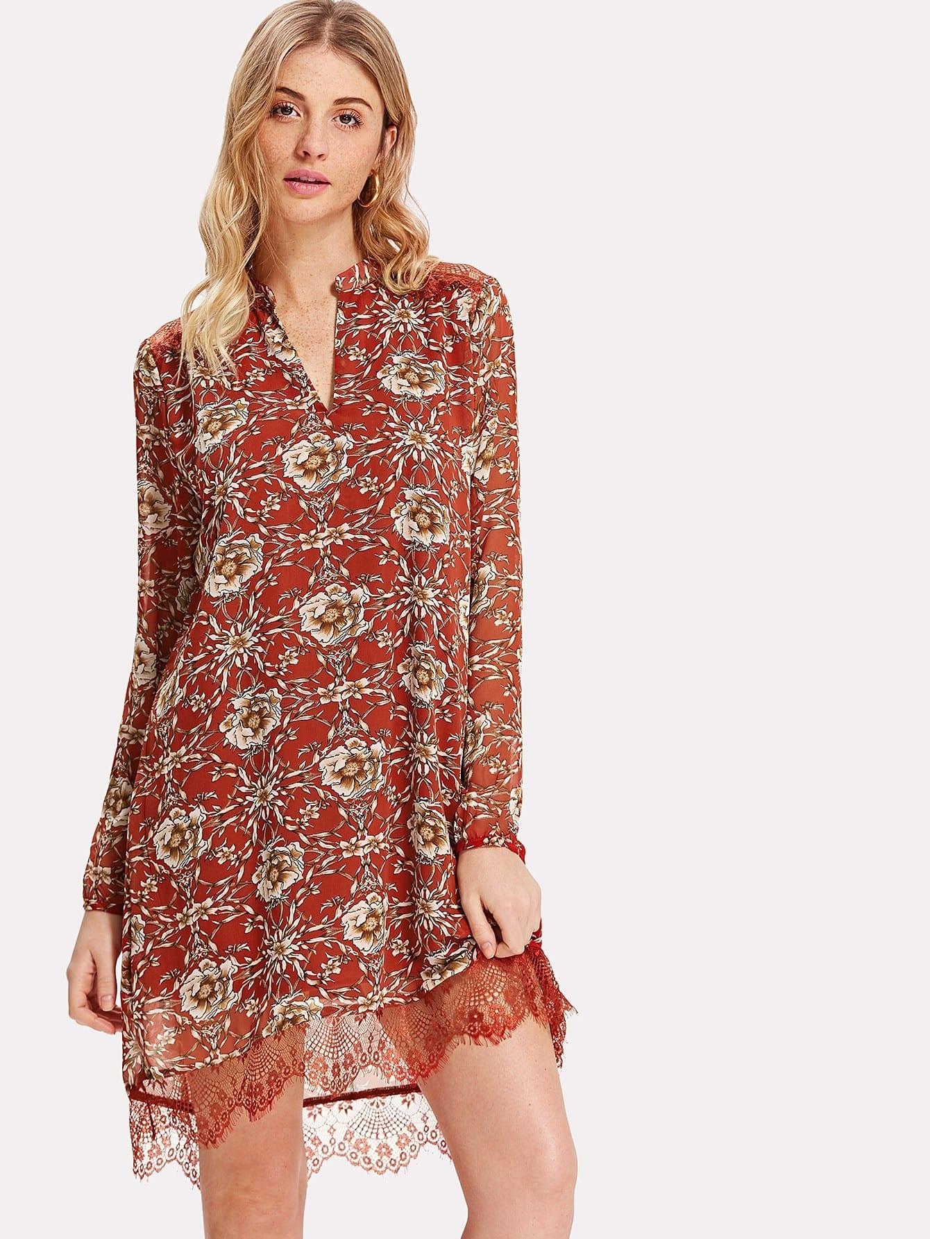 Lace Hem Cutout Back Botanical Tunic Dress все цены