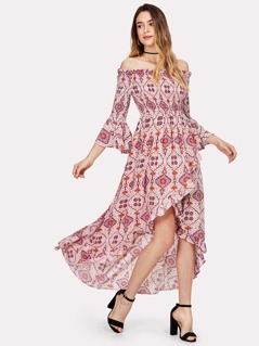 Geo Print Shirred Bodice Asymmetric Bardot Dress