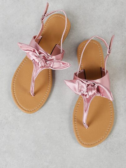 Bow Thong Sling Back Flat Sandal BLUSH SATIN