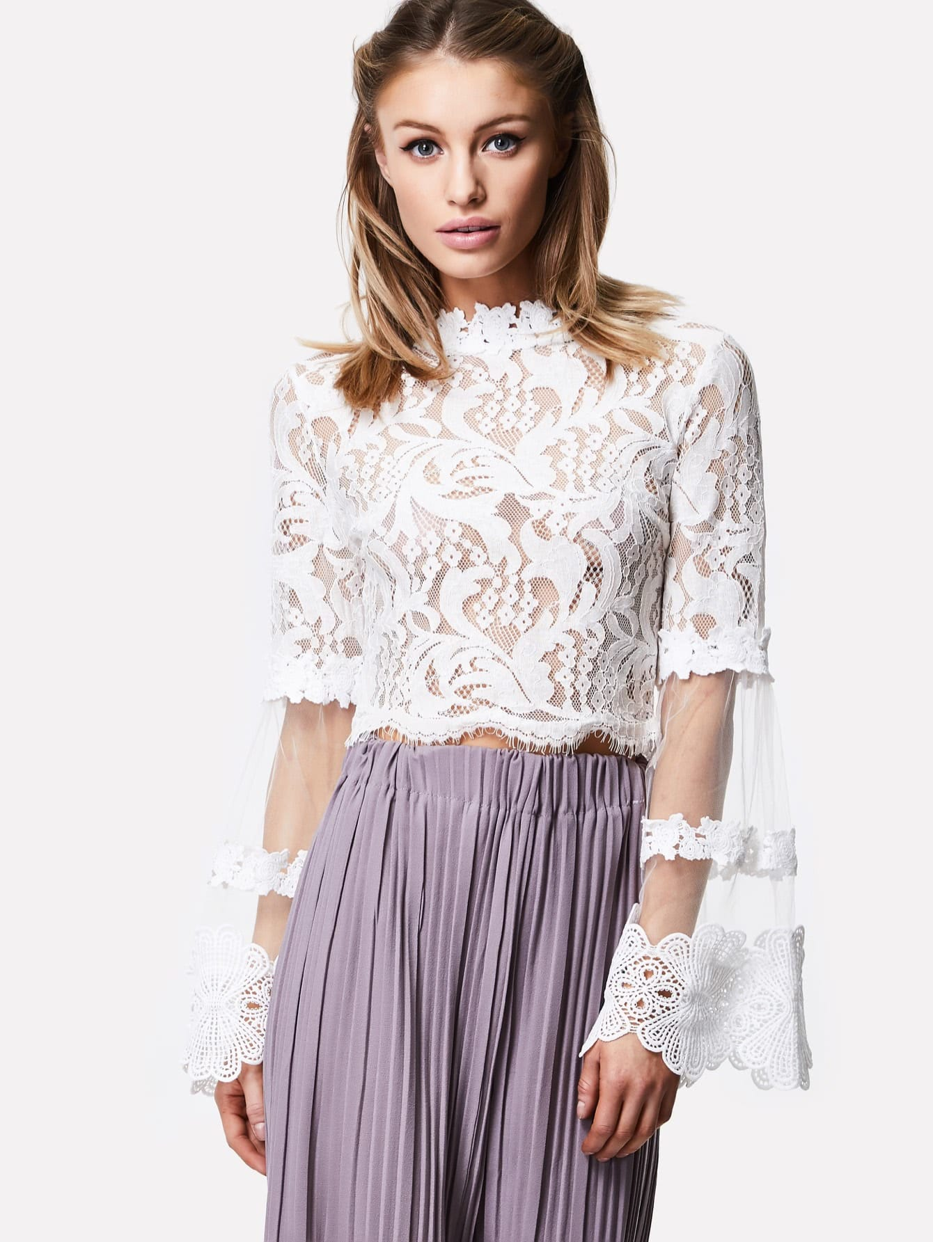 Mesh Bell Sleeve Lace Crop Top lace up bell sleeve crop top