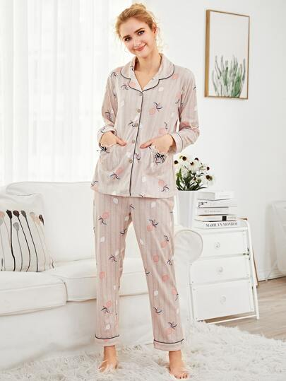 Contrast Binding Lemon Print Pajama Set