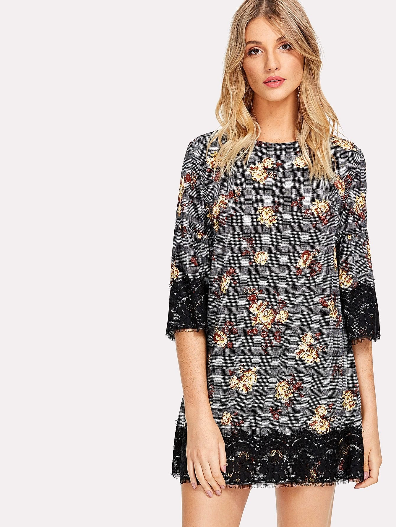 Flower And Plaid Print Lace Hem Dress