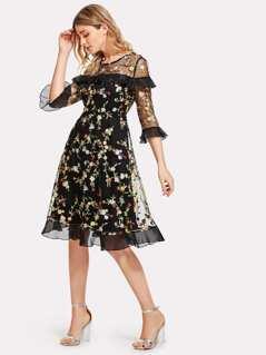 Botanical Embroidered Mesh Overlay Ruffle Detail Dress