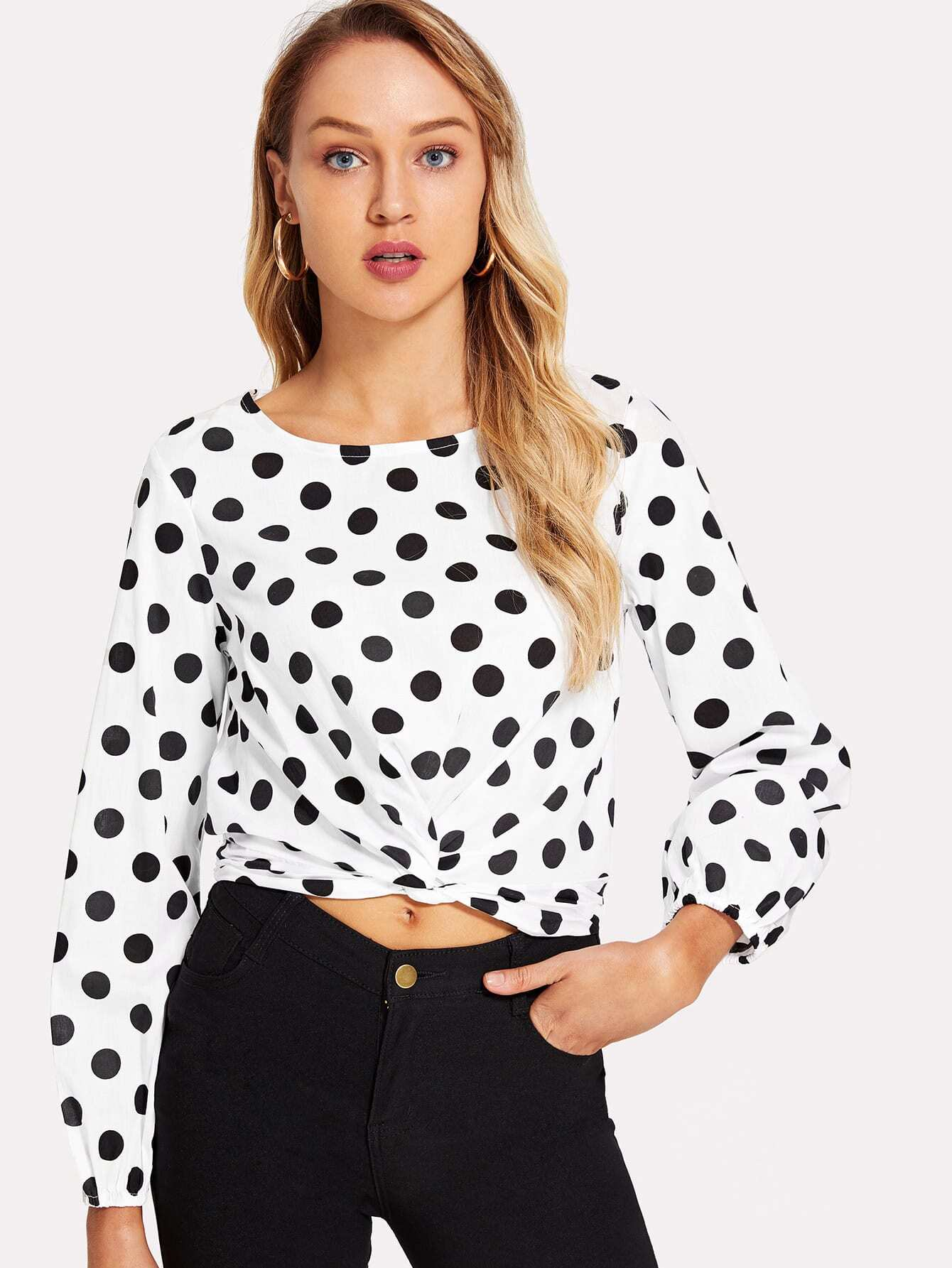 Twist Front Tie Back Polka Dot Top ruffle armhole tie back polka dot top