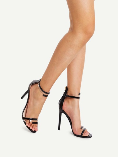 Clear Strappy Design Stiletto Heels