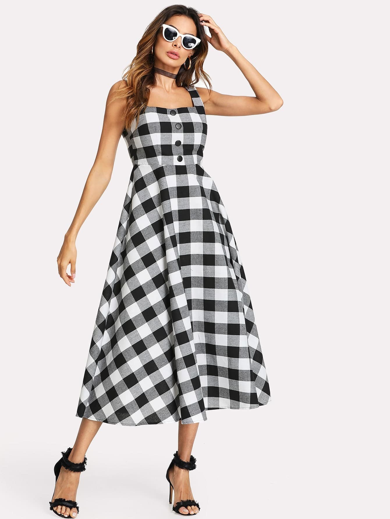 Zip Back Fit And Flared Plaid Dress zip back fit and flare splicing dress