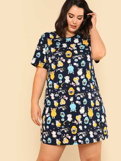 Cartoon Print Tee Dress