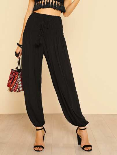 Shirred Detail Tasseled Drawstring Waist Harem Pants BLACK