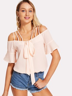 Strappy Grommet Knot Front Halter Top