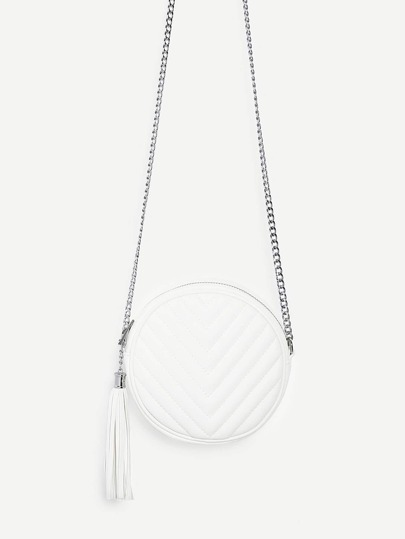 Tassel Detail Ball Design Chain Bag