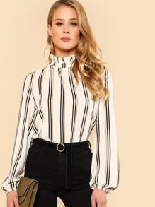 Frill Neck Blouson Sleeve Striped Top