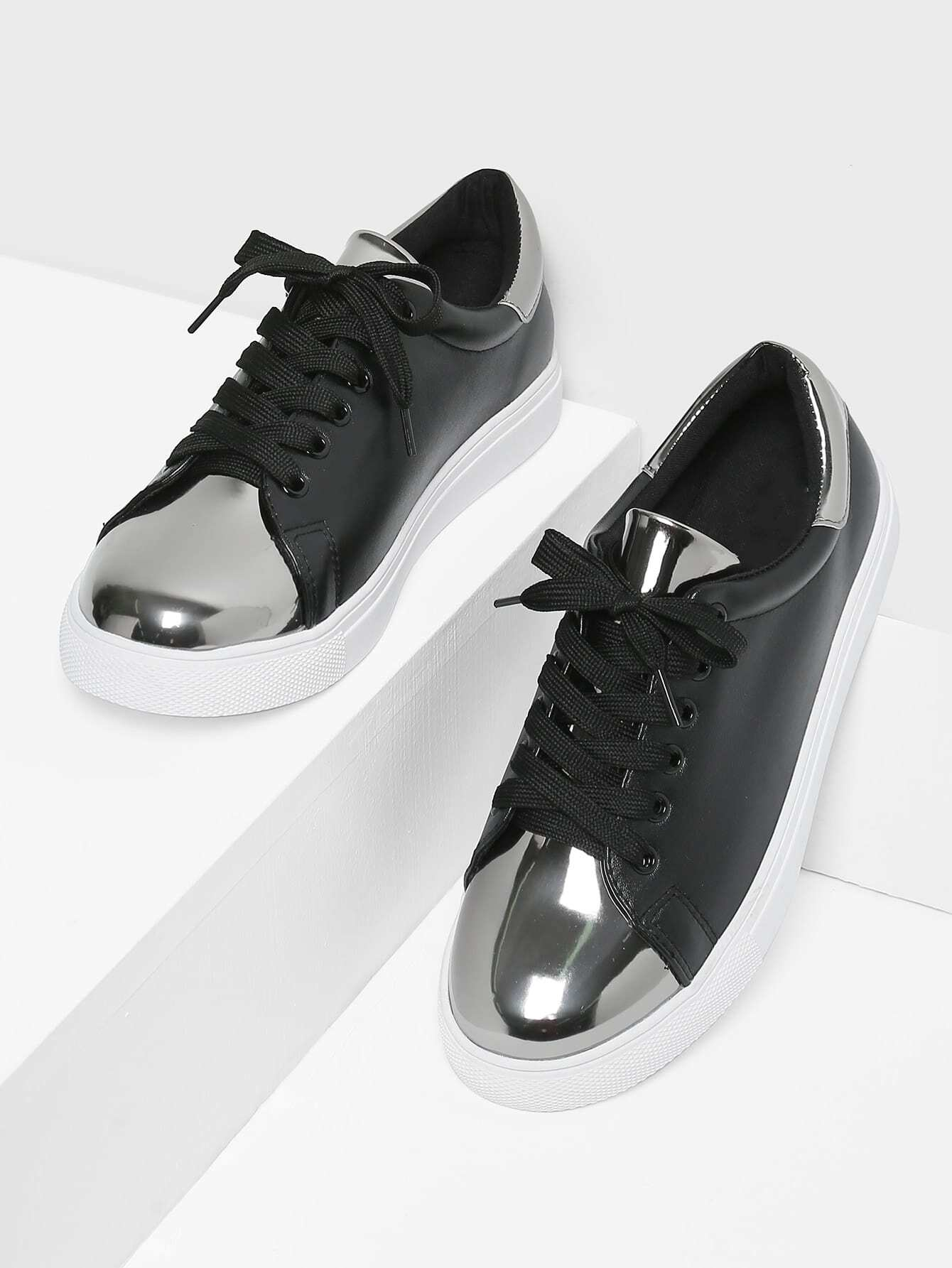 Two Tone Round Toe Sneakers two tone heart